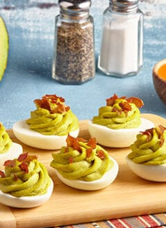 Avocado Deviled Eggs- Prosciutto