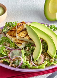 Grains and Greens Salad with Grilled Panela and Avocado Lime Tahini Dressing