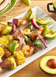 Shrimp & Steak Fajita Kebabs