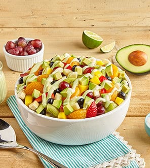 Fruit Salad with Avocado Coconut Lime Dressing
