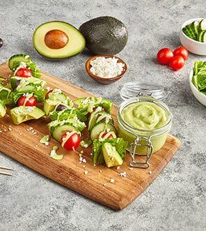 Greek Goddess Salad On A Stick With Avo Mediterranean Greek Dressing