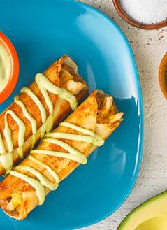 Traditional Pollo Taquito with Avocado Drizzle