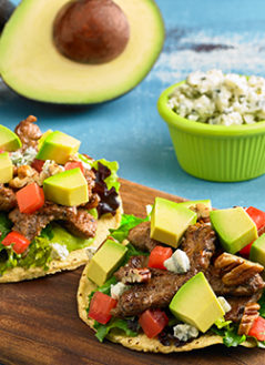 RICH & FLAVORFUL AVO BEEF TOSTADA