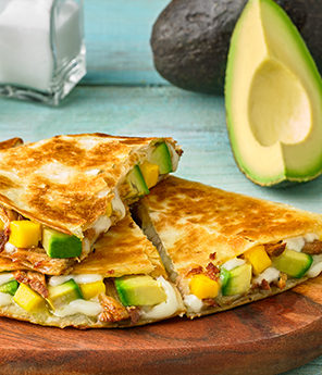 SWEET & SAVORY AVOCADO PULLED PORK QUESADILLAS