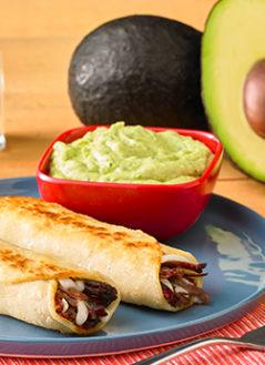 Barbacoa Taquito with Creamy Avocado Dipping Sauce