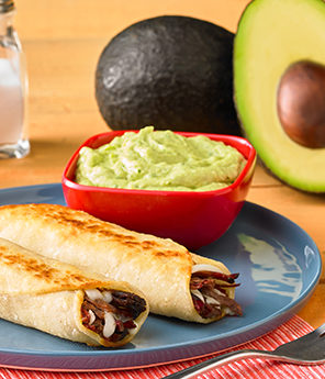 Barbacoa Taquito with Creamy Avocado Dipping Sauce
